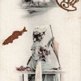 1er avril, fille au bouquet et poisson – 1 impression photomécanique (carte postale), couleur ; 14 × 9 cm (support), [1914], 1 Fi 4592 recto.
