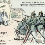 La guerre n°5 : petit héros, grands lâches - – 1 impression photomécanique (carte postale), couleur ; 9 × 14 cm (support), [1914]-[1918], 1 Fi 6799 recto.